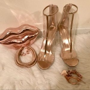 Shoes - ROSE GOLD & CLEAR BOOTIES